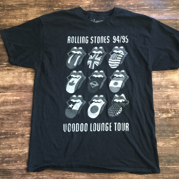 THE ROLLING STONES 94-95 VOODOO LOUNGE TOUR T-SHIRT GREY MENS ROCK MUSIC BRAVADO